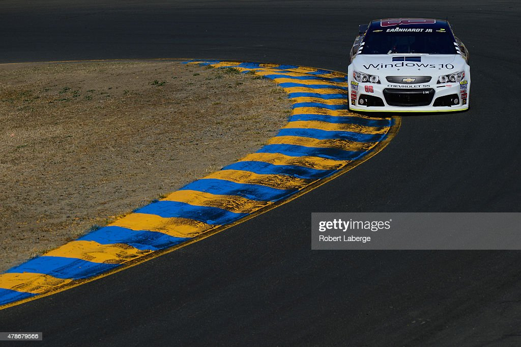 Dale Earnhardt Jr driver of the Microsoft Chevrolet practices for the NASCAR Sprint Cup Series Toyota/Save Mart 350 at Sonoma Raceway on June 26 2015...