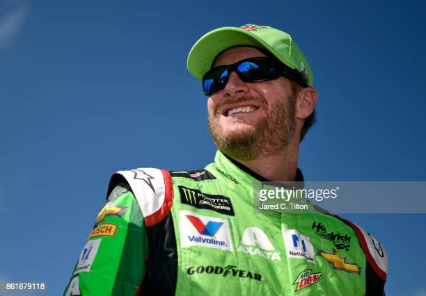 Dale Earnhardt Jr driver of the Mountain Dew Chevrolet prepares to drive during the Monster Energy NASCAR Cup Series Alabama 500 at Talladega...