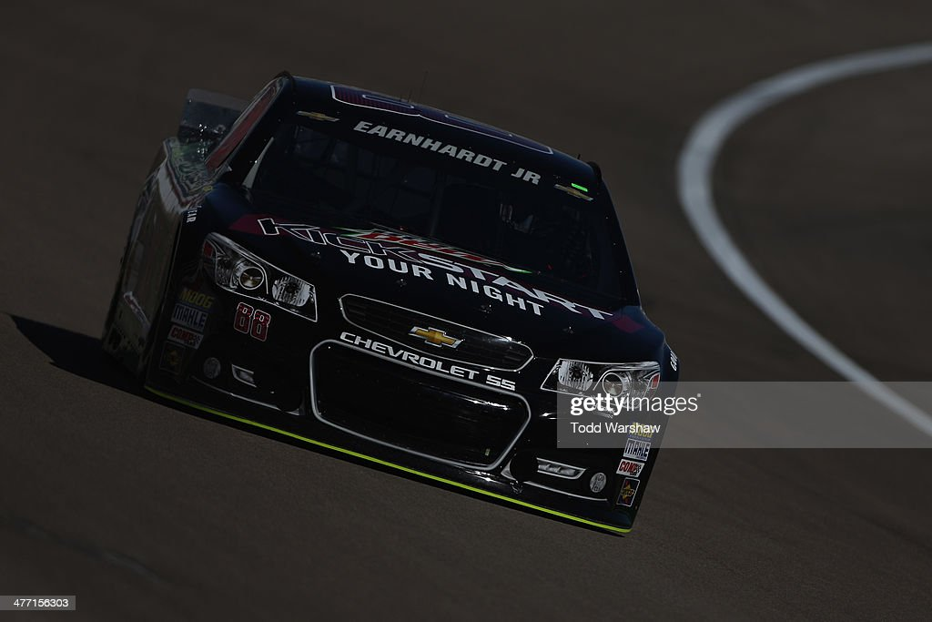 Dale Earnhardt Jr., driver of the #88 Mountain Dew Kickstart Chevrolet, practices for the NASCAR Sprint Cup Series Kobalt 400 at Las Vegas Motor Speedway on March 7, 2014 in Las Vegas, Nevada.