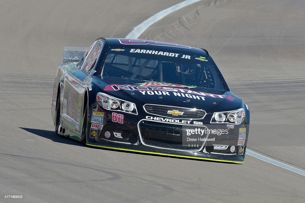 Dale Earnhardt Jr., driver of the #88 Mountain Dew Kickstart Chevrolet, drives during practice for the NASCAR Sprint Cup Series Kobalt 400 at Las Vegas Motor Speedway on March 7, 2014 in Las Vegas, Nevada.