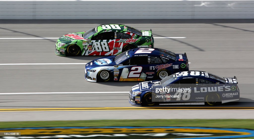 <a gi-track='captionPersonalityLinkClicked' href=/galleries/search?phrase=Dale+Earnhardt+Jr.&family=editorial&specificpeople=171293 ng-click='$event.stopPropagation()'>Dale Earnhardt Jr.</a>, driver of the #88 Mountain Dew / XBox One Chevrolet, <a gi-track='captionPersonalityLinkClicked' href=/galleries/search?phrase=Brad+Keselowski&family=editorial&specificpeople=890258 ng-click='$event.stopPropagation()'>Brad Keselowski</a>, driver of the #2 Miller Lite Ford, and Jimmie Johnson, driver of the #48 Lowe's Chevrolet, practice for the NASCAR Sprint Cup Series 45th Annual Camping World RV Sales 500 at Talladega Superspeedway on October 18, 2013 in Talladega, Alabama.