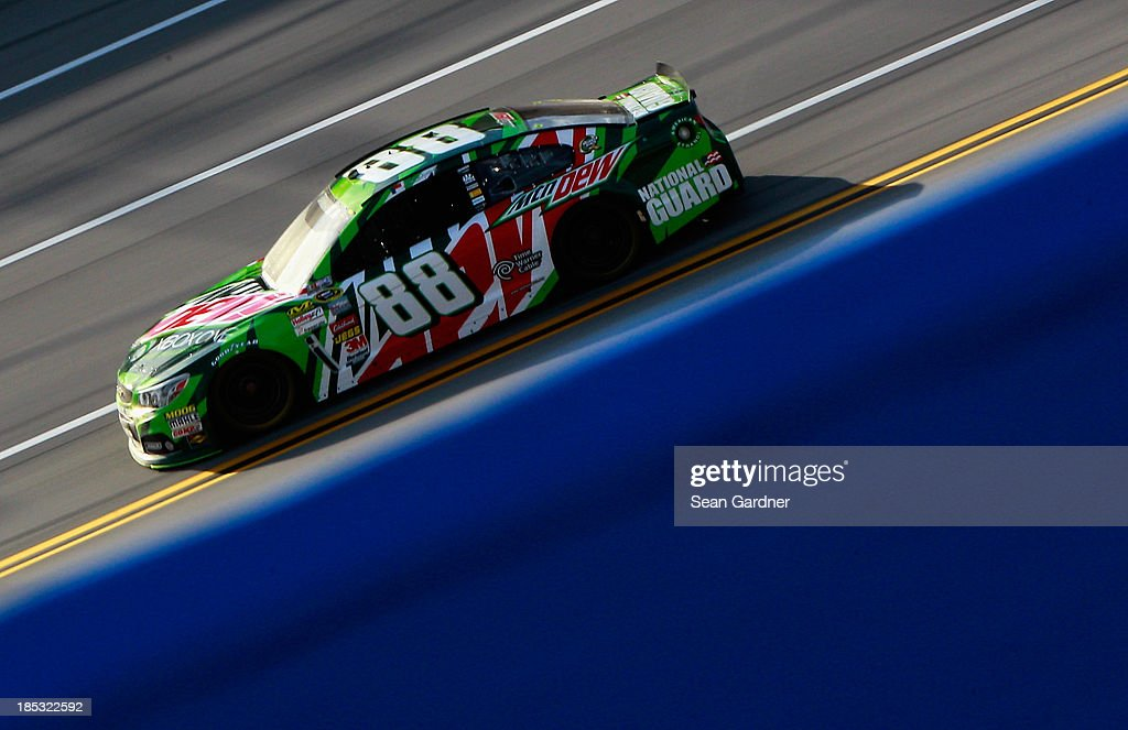 Dale Earnhardt Jr., driver of the #88 Mountain Dew / XBox One Chevrolet, practices for the NASCAR Sprint Cup Series 45th Annual Camping World RV Sales 500 at Talladega Superspeedway on October 18, 2013 in Talladega, Alabama.