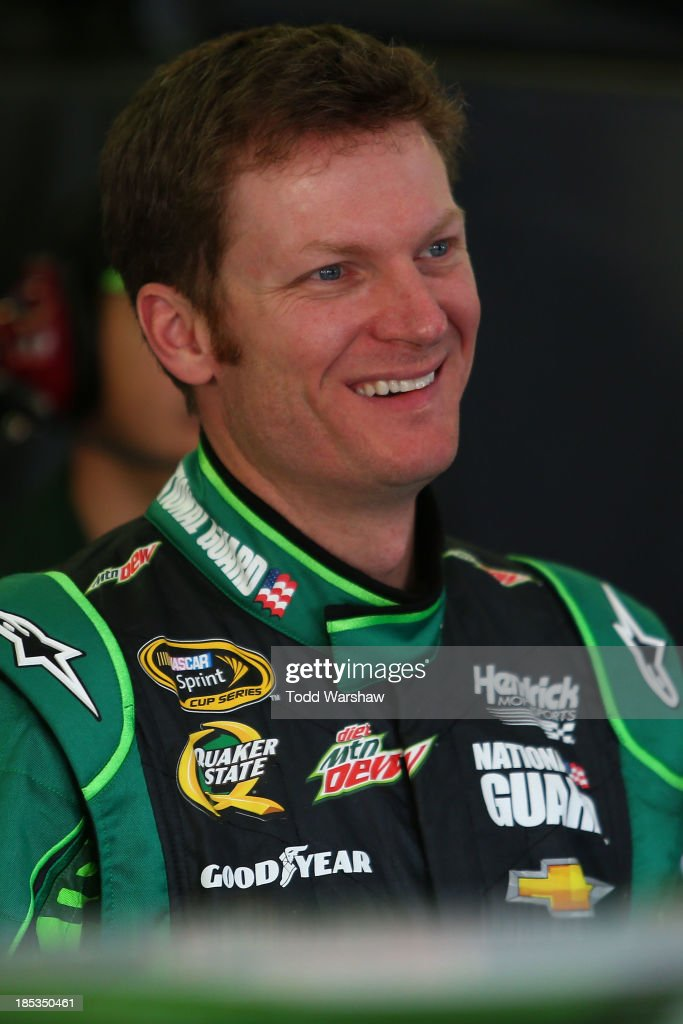 Dale Earnhardt Jr., driver of the #88 Mountain Dew / XBox One Chevrolet, during practice for the NASCAR Sprint Cup Series 45th Annual Camping World RV Sales 500 at Talladega Superspeedway on October 18, 2013 in Talladega, Alabama.