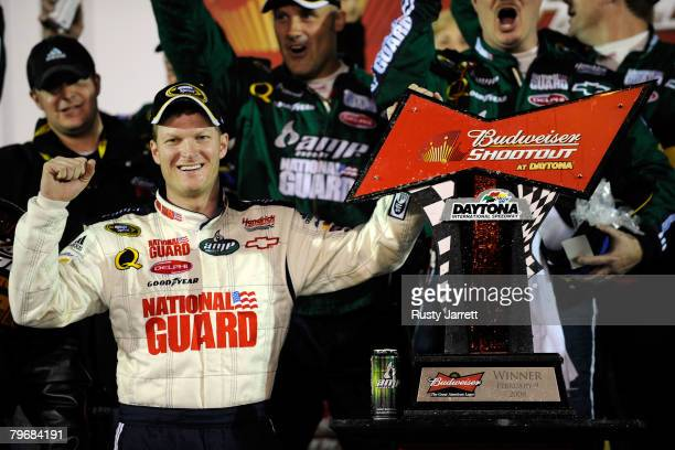 Dale Earnhardt Jr driver of the Mountian Dew AMP/National Guard Chevrolet celebrates in victory lane after winning the Budweiser Shootout at Daytona...