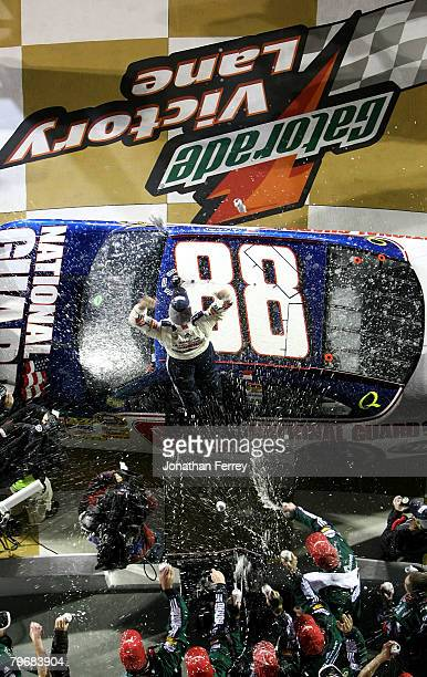 Dale Earnhardt Jr driver of the Mountian Dew AMP/National Guard Chevrolet races in the Budweiser Shootout at Daytona International Speedway on...