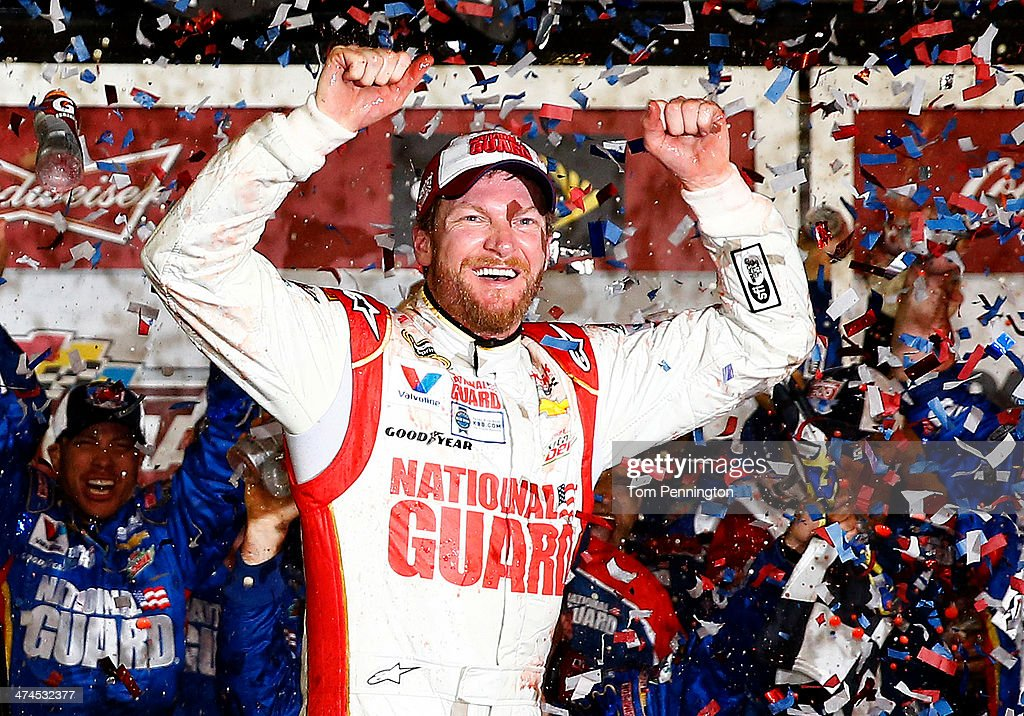 Dale Earnhardt Jr., driver of the #88 National Guard Chevrolet, celebrates in Victory Lane after winning the NASCAR Sprint Cup Series Daytona 500 at Daytona International Speedway on February 23, 2014 in Daytona Beach, Florida.