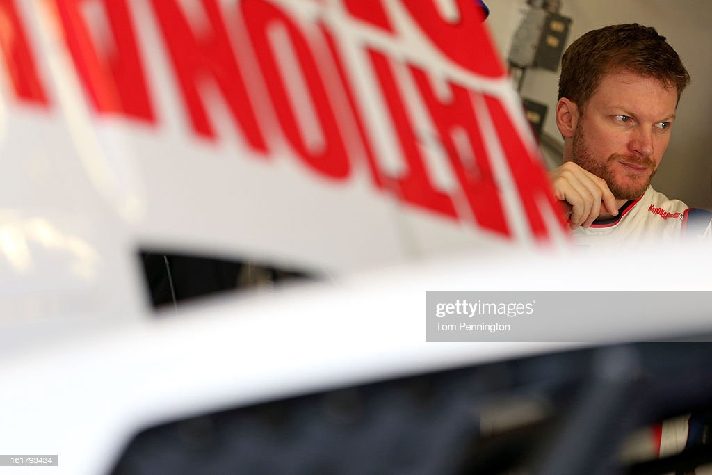 Dale Earnhardt Jr., driver of the #88 National Guard Chevrolet, during practice for the NASCAR Sprint Cup Series Daytona 500 at Daytona International Speedway on February 16, 2013 in Daytona Beach, Florida