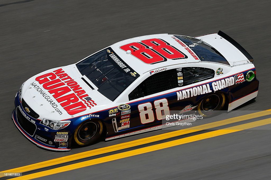 Dale Earnhardt Jr., driver of the #88 National Guard Chevrolet, during practice for the NASCAR Sprint Cup Series Daytona 500 at Daytona International Speedway on February 16, 2013 in Daytona Beach, Florida.