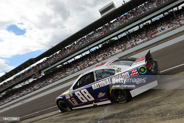 Dale Earnhardt Jr driver of the National Guard Chevrolet during the NASCAR Sprint Cup Series Samuel Deeds 400 At The Brickyard at Indianapolis Motor...