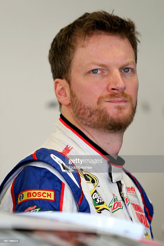 Dale Earnhardt Jr., driver of the #88 National Guard Chevrolet is seen during practice for the NASCAR Sprint Cup Series Sprint Unlimited at Daytona International Speedway on February 15, 2013 in Daytona Beach, Florida.