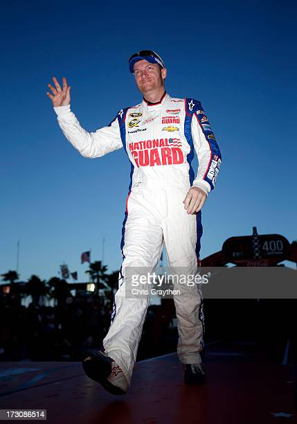Dale Earnhardt Jr driver of the National Guard Chevrolet is introduced to the fans prior to the start of the NASCAR Sprint Cup Series Coke Zero 400...