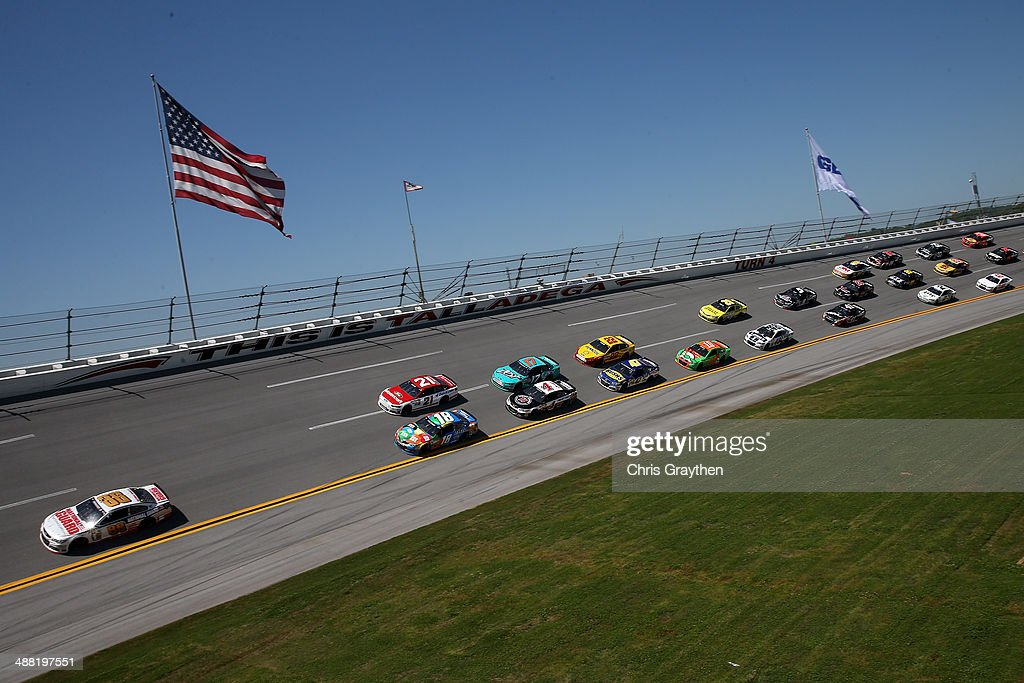 Dale Earnhardt Jr., driver of the #88 National Guard Chevrolet, leads the field during the NASCAR Sprint Cup Series Aaron's 499 at Talladega Superspeedway on May 4, 2014 in Talladega, Alabama.