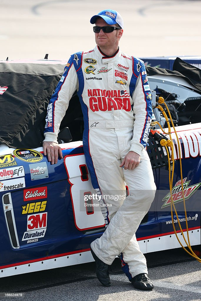 <a gi-track='captionPersonalityLinkClicked' href=/galleries/search?phrase=Dale+Earnhardt+Jr.&family=editorial&specificpeople=171293 ng-click='$event.stopPropagation()'>Dale Earnhardt Jr.</a>, driver of the #88 National Guard Chevrolet, looks on during qualifying for the NASCAR Sprint Cup Series Bojangles' Southern 500 at Darlington Raceway on May 10, 2013 in Darlington, South Carolina.