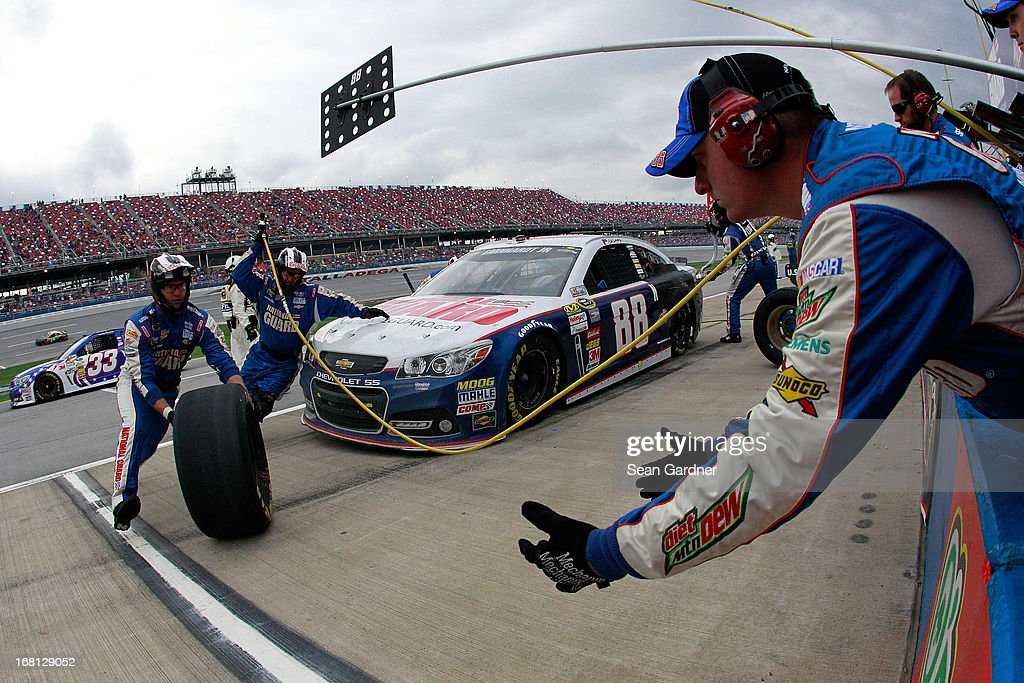 Dale Earnhardt Jr., driver of the #88 National Guard Chevrolet, pits during the NASCAR Sprint Cup Series Aaron's 499 at Talladega Superspeedway on May 5, 2013 in Talladega, Alabama.