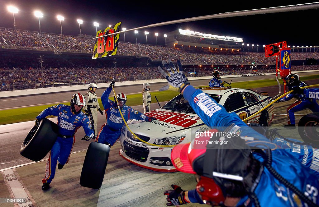 Dale Earnhardt Jr., driver of the #88 National Guard Chevrolet, pits during the NASCAR Sprint Cup Series Daytona 500 at Daytona International Speedway on February 23, 2014 in Daytona Beach, Florida.