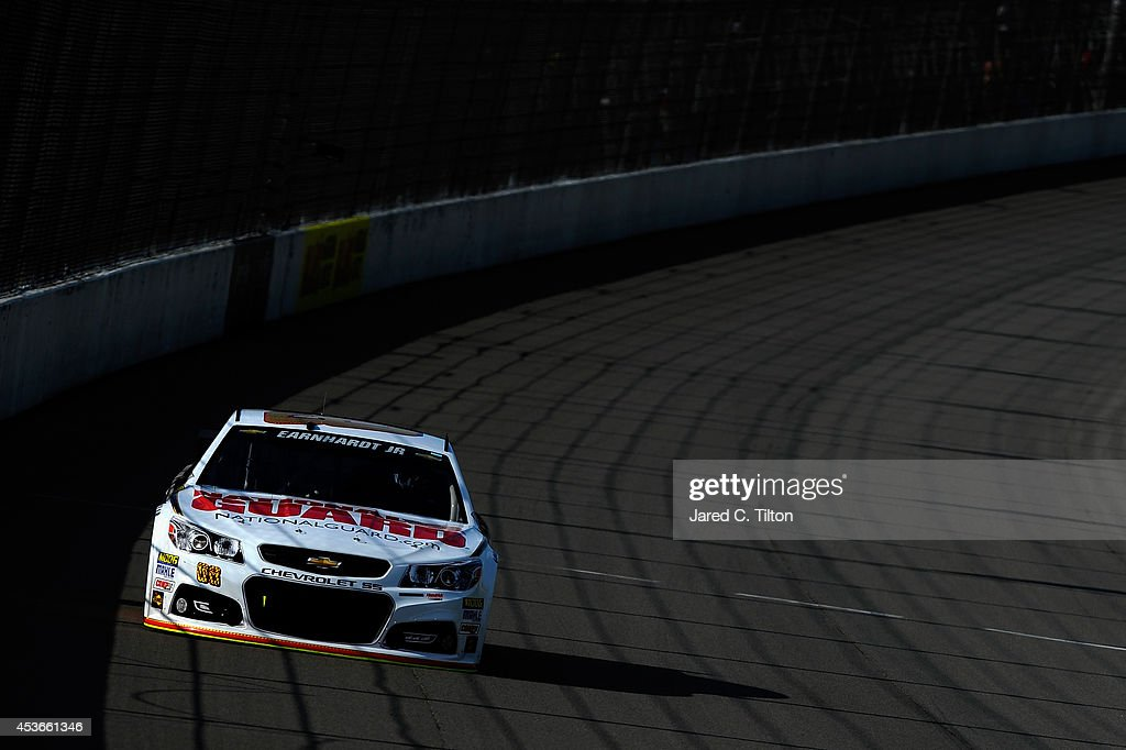 Dale Earnhardt Jr., driver of the #88 National Guard Chevrolet, qualifies for the NASCAR Sprint Cup Series Pure Michigan 400 at Michigan International Speedway on August 15, 2014 in Brooklyn, Michigan.