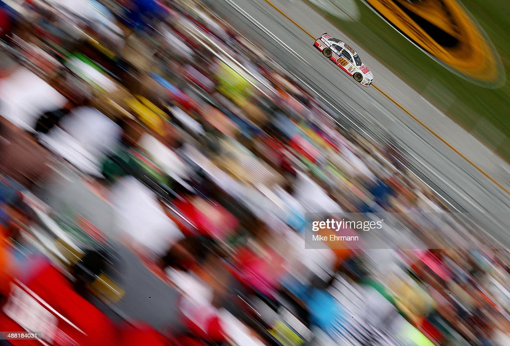 Dale Earnhardt Jr., driver of the #88 National Guard Chevrolet, races during the NASCAR Sprint Cup Series Aaron's 499 at Talladega Superspeedway on May 4, 2014 in Talladega, Alabama.