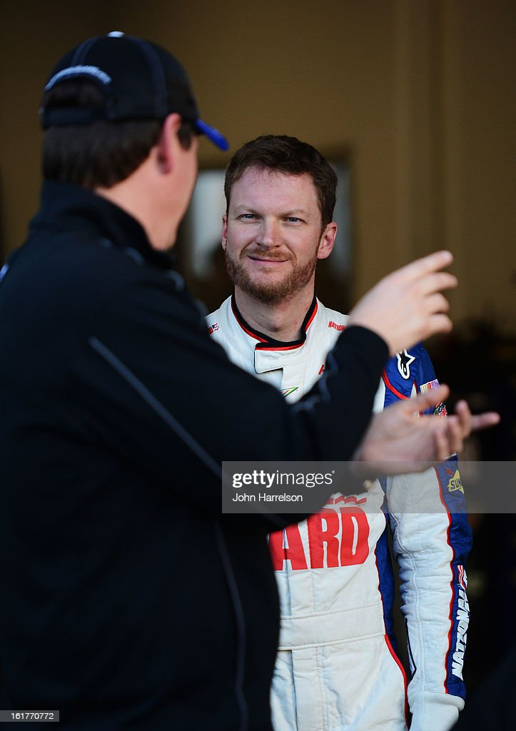 Dale Earnhardt Jr., driver of the #88 National Guard Chevrolet seen during practice for the NASCAR Sprint Cup Series Sprint Unlimited at Daytona International Speedway on February 15, 2013 in Daytona Beach, Florida.