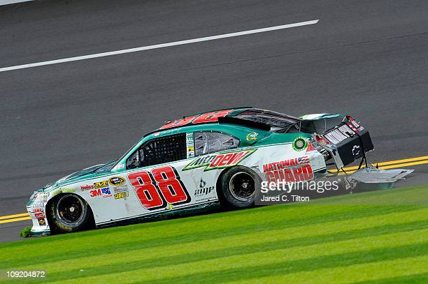 Dale Earnhardt Jr driver of the National Guard/AMP Energy Chevrolet and spins out during practice for the NASCAR Sprint Cup Series Daytona 500 at...