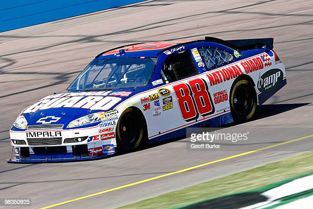 Dale Earnhardt Jr driver of the National Guard/AMP Energy Chevrolet drives during practice for the NASCAR Sprint Cup Series Subway Fresh Fit 600 at...
