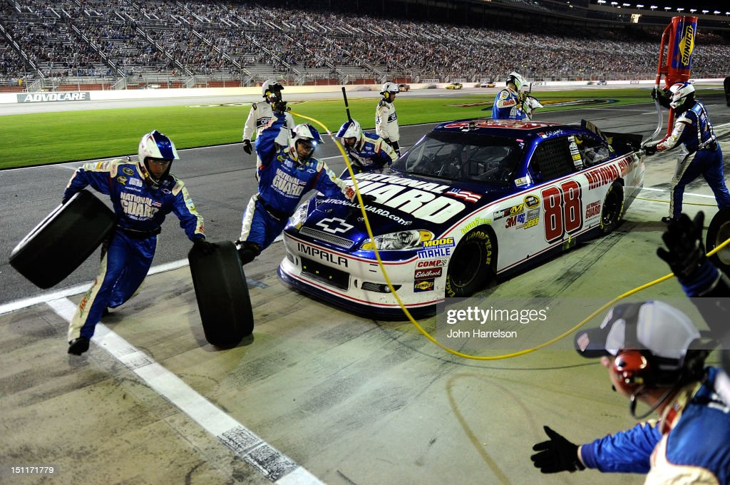 <a gi-track='captionPersonalityLinkClicked' href=/galleries/search?phrase=Dale+Earnhardt+Jr.&family=editorial&specificpeople=171293 ng-click='$event.stopPropagation()'>Dale Earnhardt Jr.</a>, driver of the #88 National Guard/Diet Mountain Dew Chevrolet, pits during the NASCAR Sprint Cup Series AdvoCare 500 at Atlanta Motor Speedway on September 2, 2012 in Hampton, Georgia.