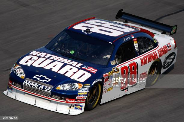 Dale Earnhardt Jr driver of the National Guard/Mountain Dew/AMP Chevrolet practices for the Budweiser Shootout at Daytona International Speedway on...