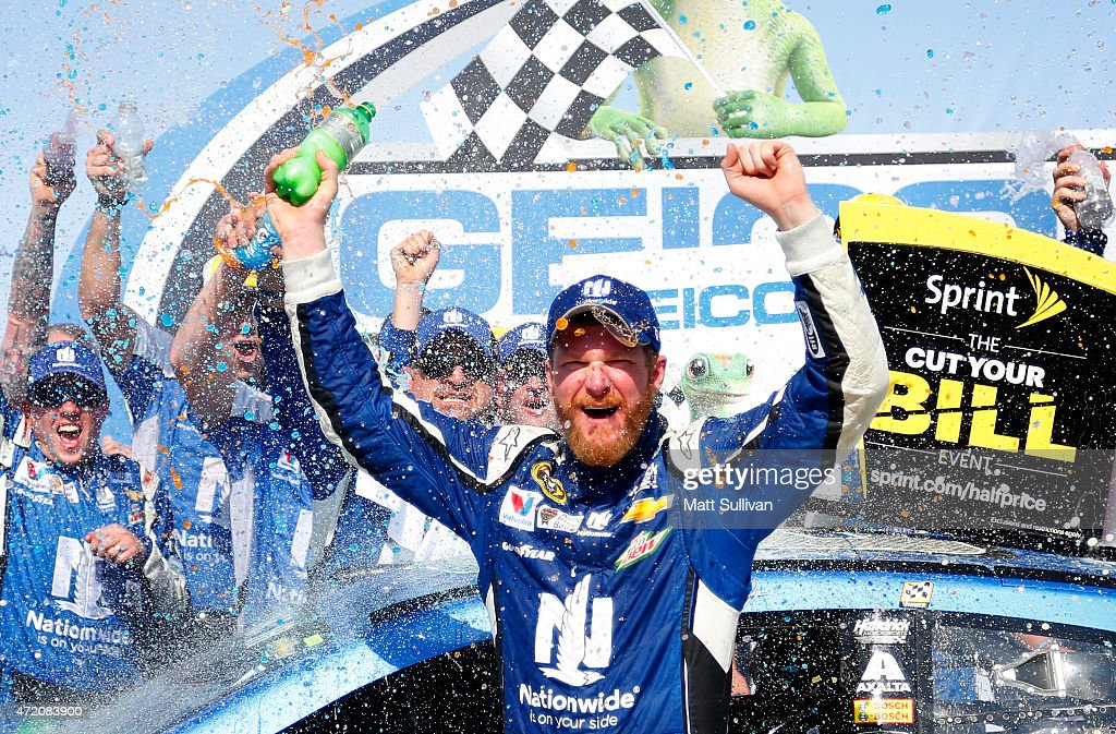 Dale Earnhardt Jr., driver of the #88 Nationwide Chevrolet, celebrates in victory lane after winning the NASCAR Sprint Cup Series GEICO 500 at Talladega Superspeedway on May 3, 2015 in Talladega, Alabama.