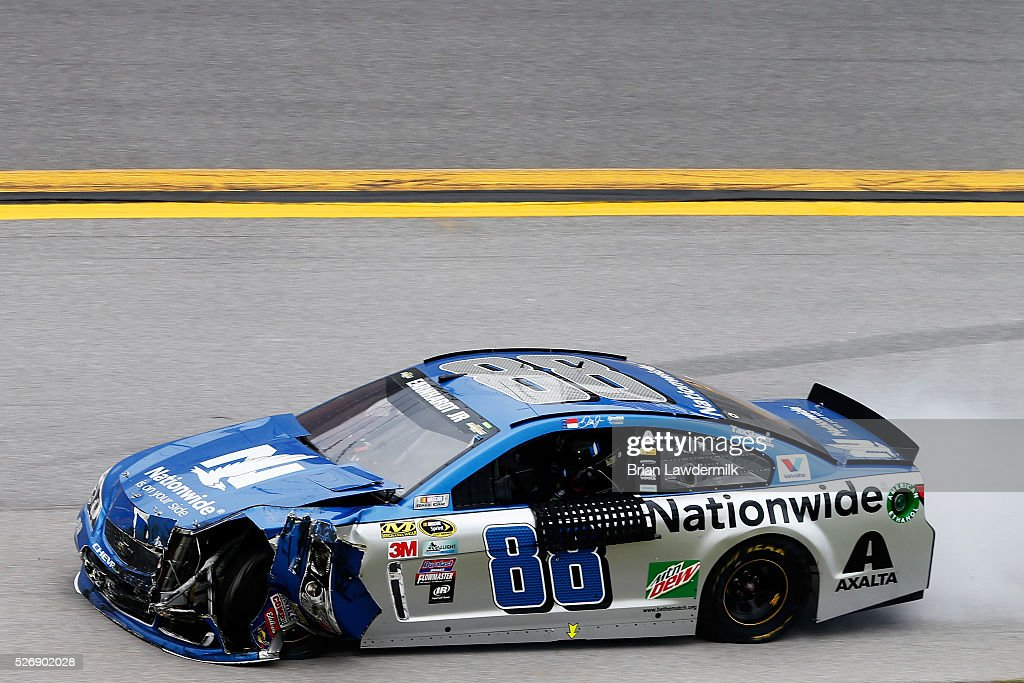Dale Earnhardt Jr, driver of the #88 Nationwide Chevrolet, drives on the apron after an on track incident during the NASCAR Sprint Cup Series GEICO 500 at Talladega Superspeedway on May 1, 2016 in Talladega, Alabama.