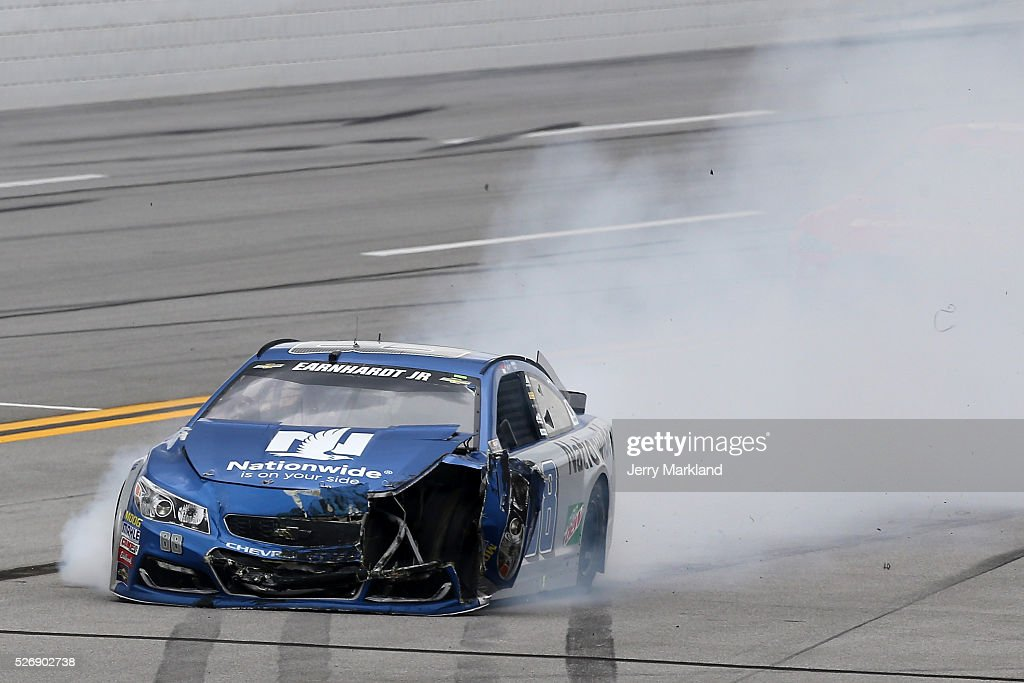 Dale Earnhardt Jr, driver of the #88 Nationwide Chevrolet, has an on track incident during the NASCAR Sprint Cup Series GEICO 500 at Talladega Superspeedway on May 1, 2016 in Talladega, Alabama.
