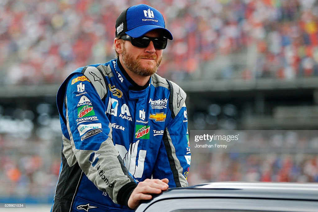 Dale Earnhardt Jr, driver of the #88 Nationwide Chevrolet, is introduced prior to the NASCAR Sprint Cup Series GEICO 500 at Talladega Superspeedway on May 1, 2016 in Talladega, Alabama.