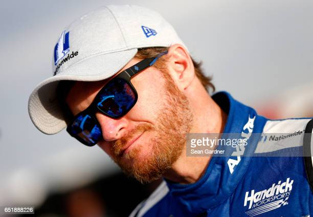 Dale Earnhardt Jr driver of the Nationwide Chevrolet looks on during qualifying for the Monster Energy NASCAR Cup Series Kobalt 400 at Las Vegas...
