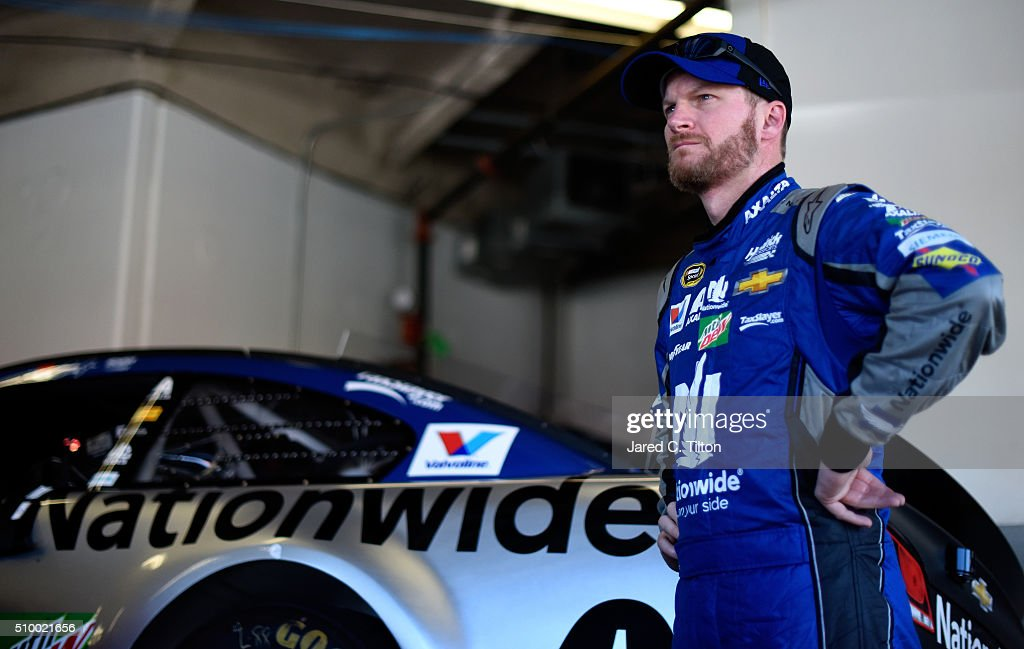 <a gi-track='captionPersonalityLinkClicked' href=/galleries/search?phrase=Dale+Earnhardt+Jr.&family=editorial&specificpeople=171293 ng-click='$event.stopPropagation()'>Dale Earnhardt Jr.</a>, driver of the #88 Nationwide Chevrolet, looks on in the garage area during practice for the NASCAR Sprint Cup Series Daytona 500 at Daytona International Speedway on February 13, 2016 in Daytona Beach, Florida.