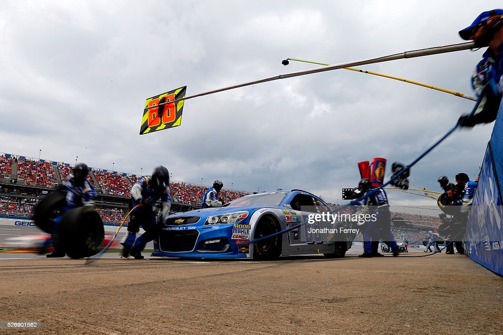 Dale Earnhardt Jr, driver of the #88 Nationwide Chevrolet, pits during the NASCAR Sprint Cup Series GEICO 500 at Talladega Superspeedway on May 1, 2016 in Talladega, Alabama.