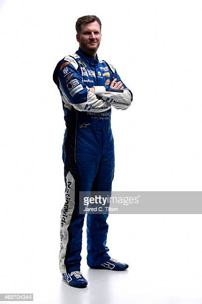 Dale Earnhardt Jr driver of the Nationwide Chevrolet poses for a portrait during the 2015 NASCAR Media Day at Daytona International Speedway on...