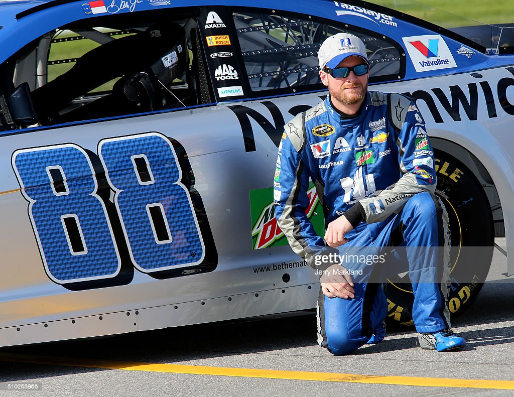 Dale Earnhardt Jr., driver of the #88 Nationwide Chevrolet, poses with his car during qualifying for the NASCAR Sprint Cup Series Daytona 500 at Daytona International Speedway on February 14, 2016 in Daytona Beach, Florida.