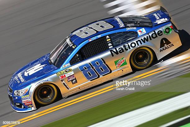 Dale Earnhardt Jr driver of the Nationwide Chevrolet practices for the NASCAR Sprint Cup Series Daytona 500 at Daytona International Speedway on...