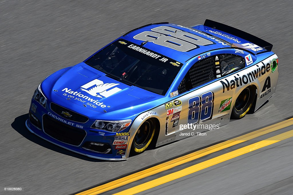 <a gi-track='captionPersonalityLinkClicked' href=/galleries/search?phrase=Dale+Earnhardt+Jr.&family=editorial&specificpeople=171293 ng-click='$event.stopPropagation()'>Dale Earnhardt Jr.</a>, driver of the #88 Nationwide Chevrolet, practices for the NASCAR Sprint Cup Series Daytona 500 at Daytona International Speedway on February 13, 2016 in Daytona Beach, Florida.