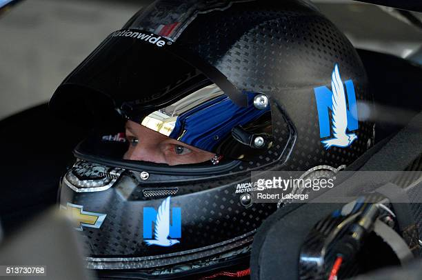 Dale Earnhardt Jr driver of the Nationwide Chevrolet prepares to practice during practice for the NASCAR Sprint Cup Series Kobalt 400 at Las Vegas...