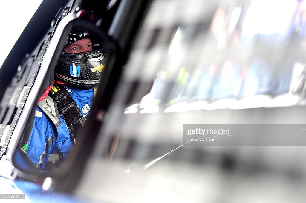 Dale Earnhardt Jr, driver of the #88 Nationwide Chevrolet, sits in his car during practice for the NASCAR Sprint Cup Series GEICO 500 at Talladega Superspeedway on April 29, 2016 in Talladega, Alabama.