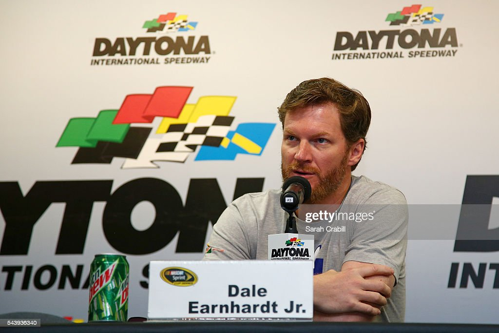 <a gi-track='captionPersonalityLinkClicked' href=/galleries/search?phrase=Dale+Earnhardt+Jr.&family=editorial&specificpeople=171293 ng-click='$event.stopPropagation()'>Dale Earnhardt Jr.</a>, driver of the #88 Nationwide Chevrolet, speaks in a press conference during practice for the NASCAR Sprint Cup Series Coke Zero 400 at Daytona International Speedway on June 30, 2016 in Daytona Beach, Florida.