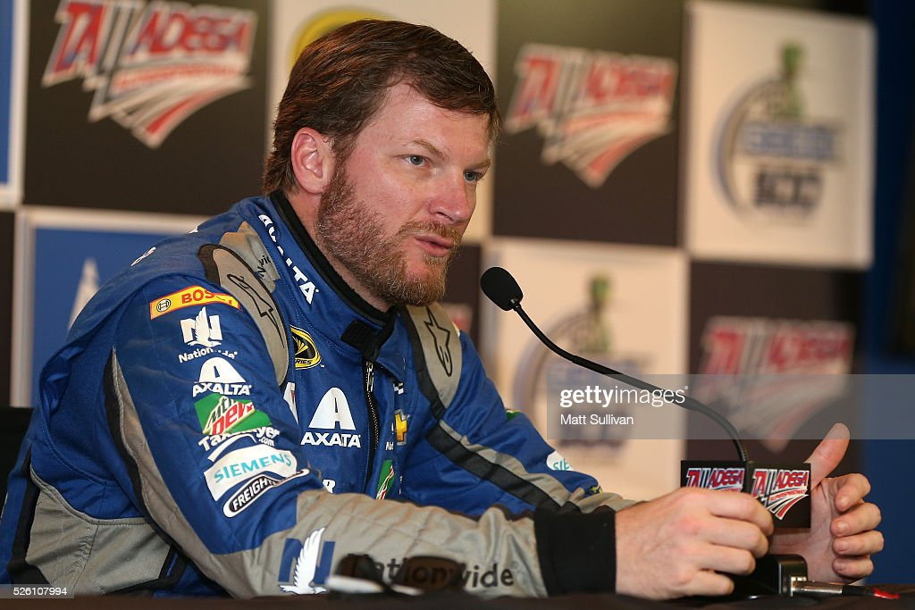 Dale Earnhardt Jr, driver of the #88 Nationwide Chevrolet, speaks to the media during a press conference following practice for the NASCAR Sprint Cup Series GEICO 500 at Talladega Superspeedway on April 29, 2016 in Talladega, Alabama.