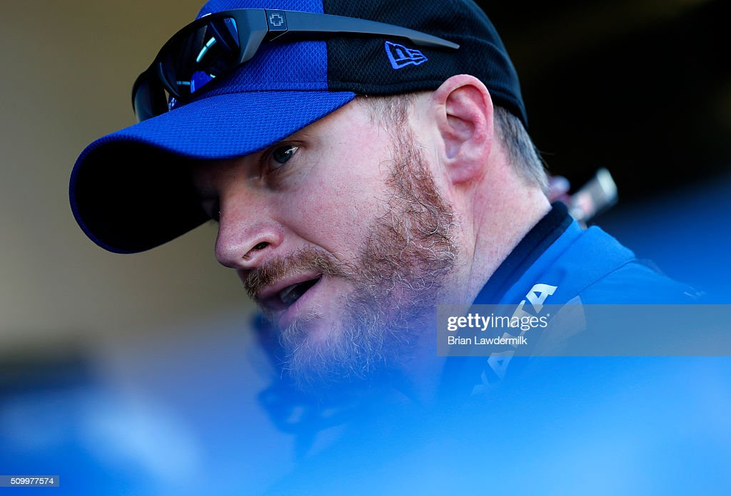 Dale Earnhardt Jr., driver of the #88 Nationwide Chevrolet, stands in the garage area during practice for the NASCAR Sprint Cup Series Daytona 500 at Daytona International Speedway on February 13, 2016 in Daytona Beach, Florida.