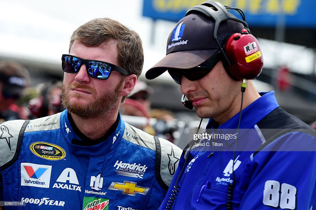 Dale Earnhardt Jr, driver of the #88 Nationwide Chevrolet, stands on the grid during qualifying for the NASCAR Sprint Cup Series GEICO 500 at Talladega Superspeedway on April 30, 2016 in Talladega, Alabama.