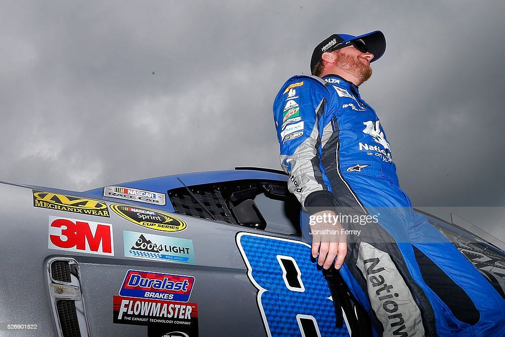 Dale Earnhardt Jr, driver of the #88 Nationwide Chevrolet, stands on the grid prior to the NASCAR Sprint Cup Series GEICO 500 at Talladega Superspeedway on May 1, 2016 in Talladega, Alabama.