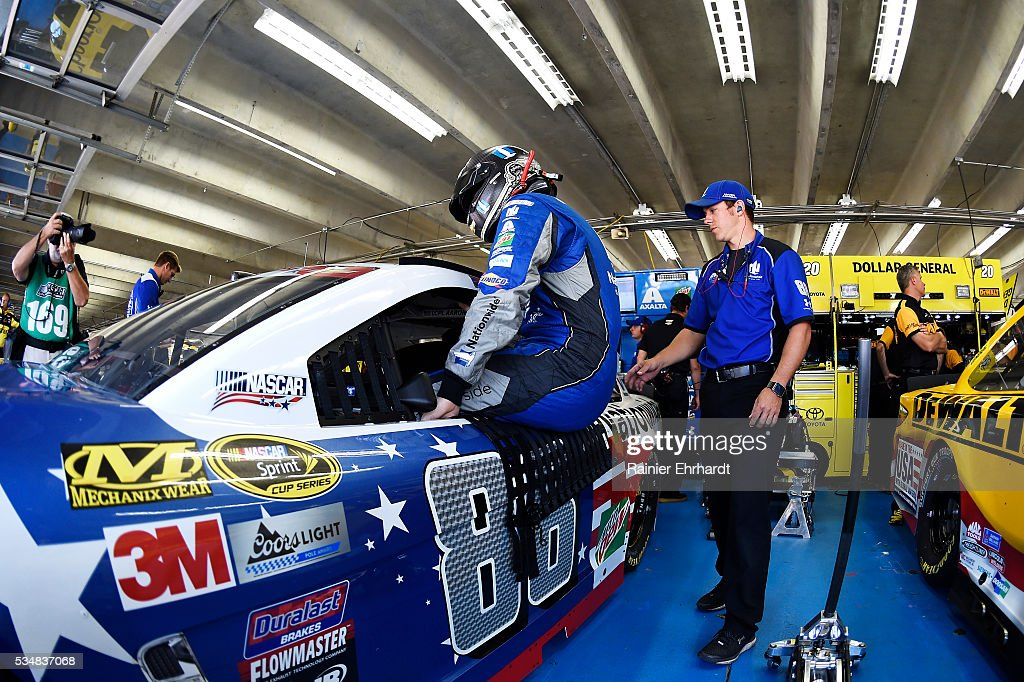 <a gi-track='captionPersonalityLinkClicked' href=/galleries/search?phrase=Dale+Earnhardt+Jr.&family=editorial&specificpeople=171293 ng-click='$event.stopPropagation()'>Dale Earnhardt Jr.</a>, driver of the #88 Nationwide Chevrolet, steps into his car during practice for the NASCAR Sprint Cup Series Coca-Cola 600 at Charlotte Motor Speedway on May 28, 2016 in Charlotte, North Carolina.