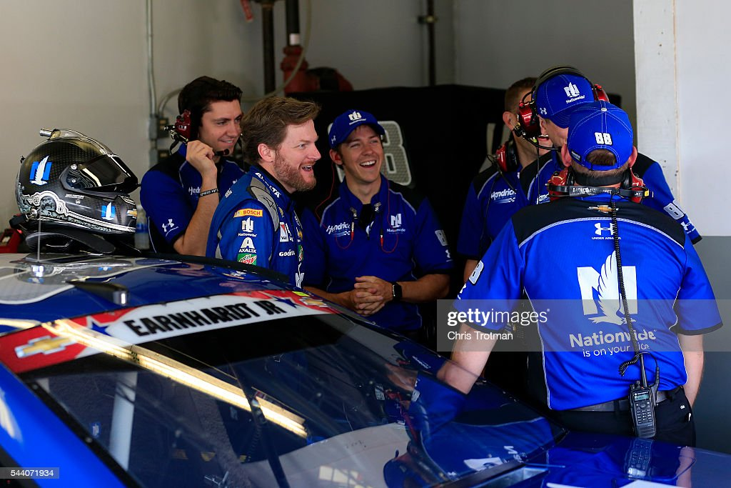<a gi-track='captionPersonalityLinkClicked' href=/galleries/search?phrase=Dale+Earnhardt+Jr.&family=editorial&specificpeople=171293 ng-click='$event.stopPropagation()'>Dale Earnhardt Jr.</a>, driver of the #88 Nationwide Chevrolet, talks to his crew in the garage area during practice for the NASCAR Sprint Cup Series Coke Zero 400 at Daytona International Speedway on July 1, 2016 in Daytona Beach, Florida.