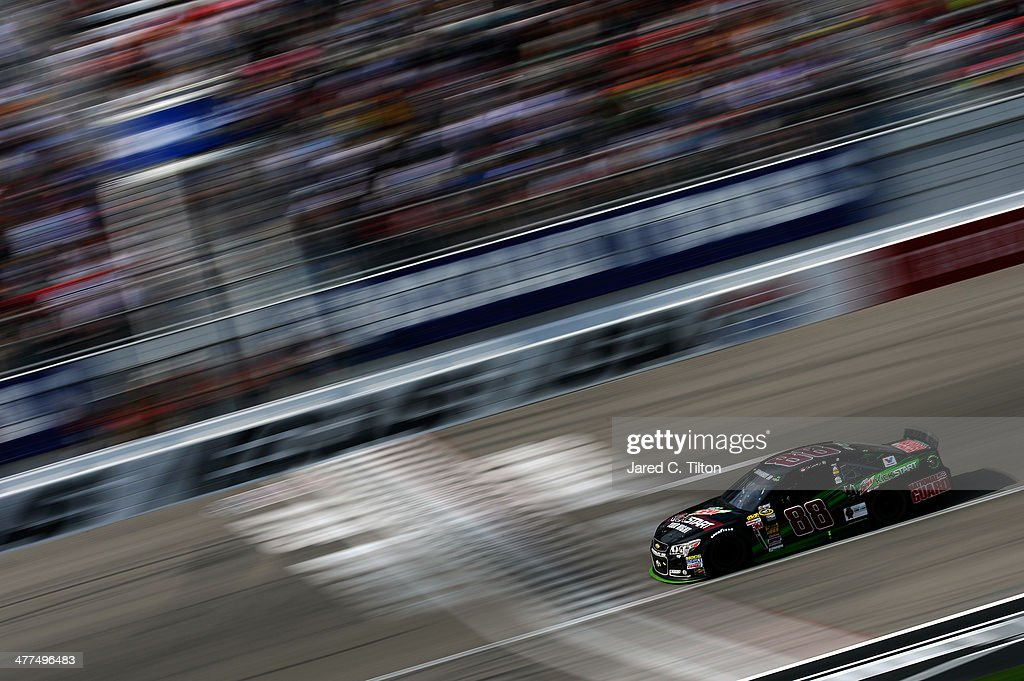 Dale Earnhardt Jr. drives the #88 Mountain Dew Kickstart Chevrolet during the NASCAR Sprint Cup Series Kobalt 400 at Las Vegas Motor Speedway on March 9, 2014 in Las Vegas, Nevada.
