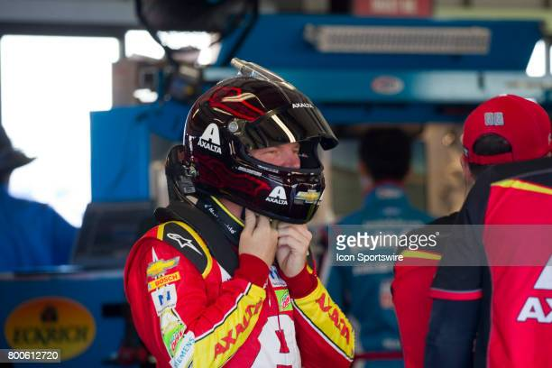 Dale Earnhardt Jr gets set for his run at the Toyota/Save Mart 350 practice on June 23 2017 at Sonoma Raceway in Sonoma CA