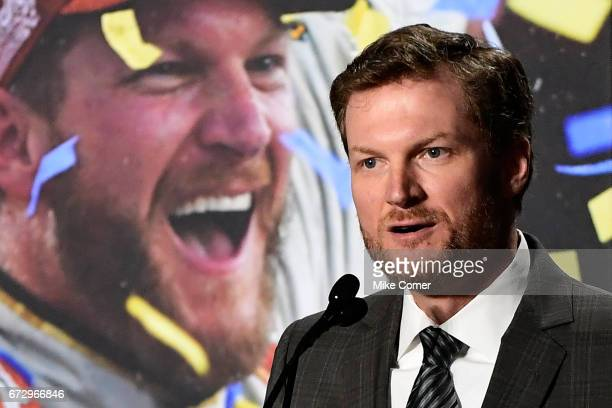 Dale Earnhardt Jr gives a statement announcing his retirement from NASCAR after the 2017 season at the Hendrick Motorsports Team Center on April 25...