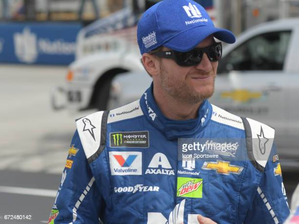 Dale Earnhardt Jr Nationwide Insurance Chevrolet SS before the Monster Energy Cup Series Food City 500 on April 24 at Bristol Motor Speedway in...